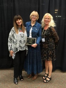 Roberta Freemen (center) was nominated for the 2016 Outstanding Individual in Communication and Theater by Dilworth-Glyndon-Felton High School speech instructor Kathy Martin (left) and Perham High School speech instructor Sandra Wieser-Matthews. She is a mentor to both high school instructors, who teach M State concurrent education courses in their schools.
