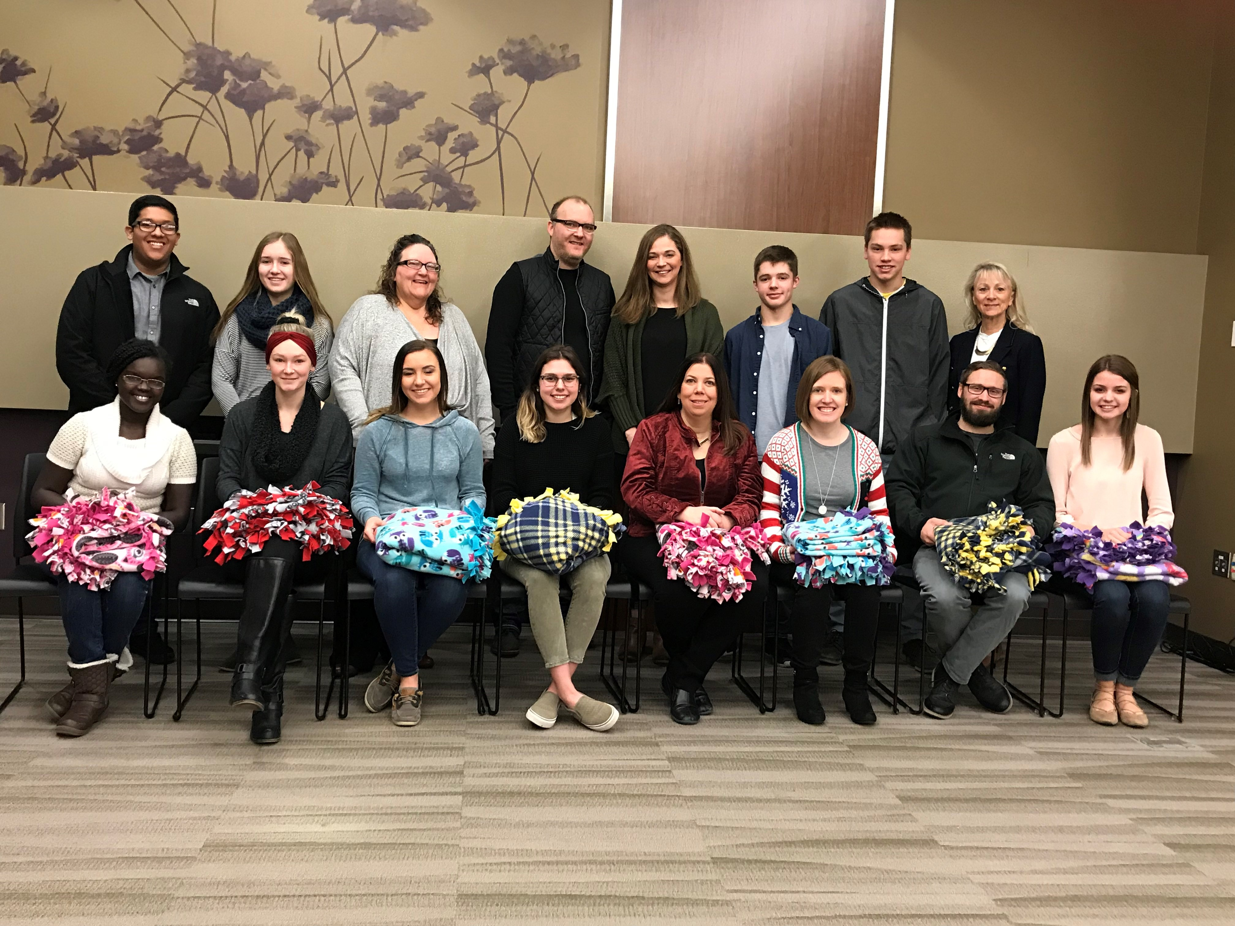 M State students make blankets for abuse victims